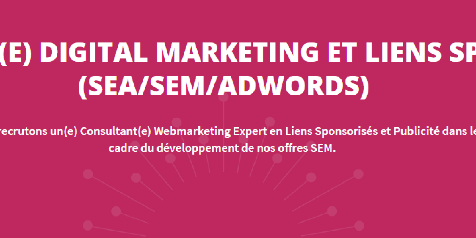 Emploi CONSULTANT(E) DIGITAL MARKETING ET LIENS SPONSORISÉS (SEA/SEM/ADWORDS) Grenoble